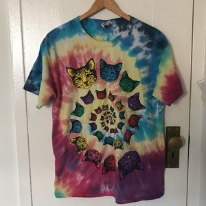 Tie dye cat head t shirt